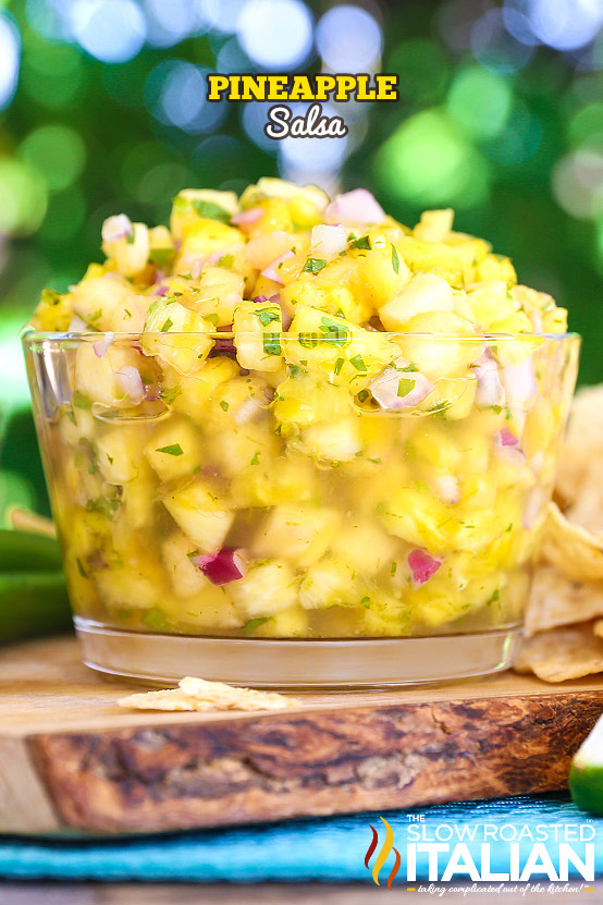 big glass bowl full of pineapple salsa