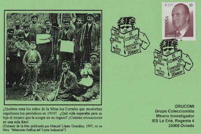"""Tarjeta del matasellos del 20 aniversario del periódico escolar """"El Connio"""" del Colegio Aurelio Menéndez de Ibias"""