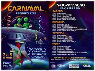 Registro-SP está finalizando os preparativos para o seu Carnaval de Rua e divulga a Programação Oficial