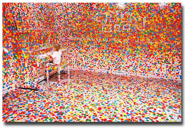 As A Stark White Room And Then Thousands Of Ping Children Were Given Brightly Colored Dots With Which To Decorate It The Result Is Exuberant