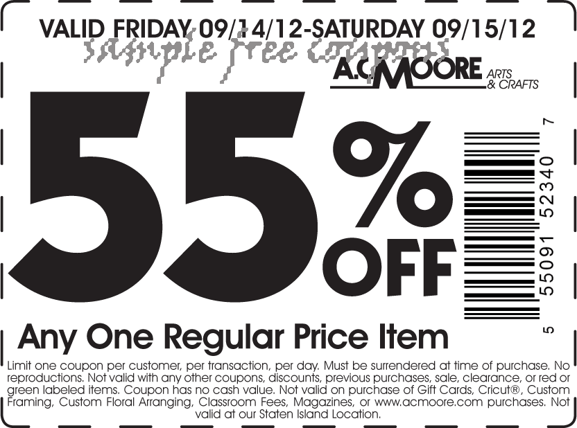 image regarding Ac Moore Printable Coupon called 55 coupon ac moore / Wcco eating out discounts