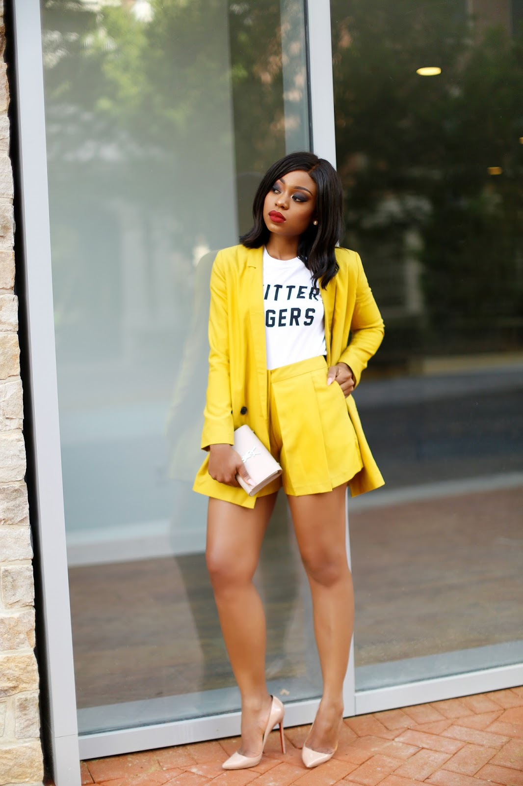 summer yellow blazer and shorts, www.jadore-fashion.com