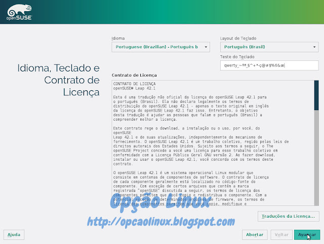 Licença de uso openSUSE Leap