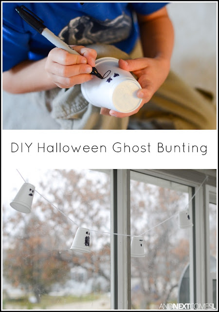 Easy Halloween ghost craft for kids - make a festive Halloween bunting from And Next Comes L