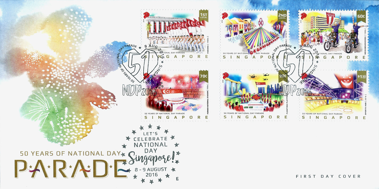 Pre-cancelled First day cover & stamps designed by Wong Wui, S$5.20