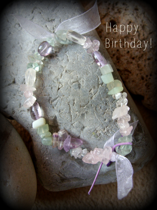 bracelet with gemstones and ribbon