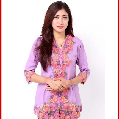 A9TBD Baju Batik Modis Kebaya Helona Ungu Bj99A9