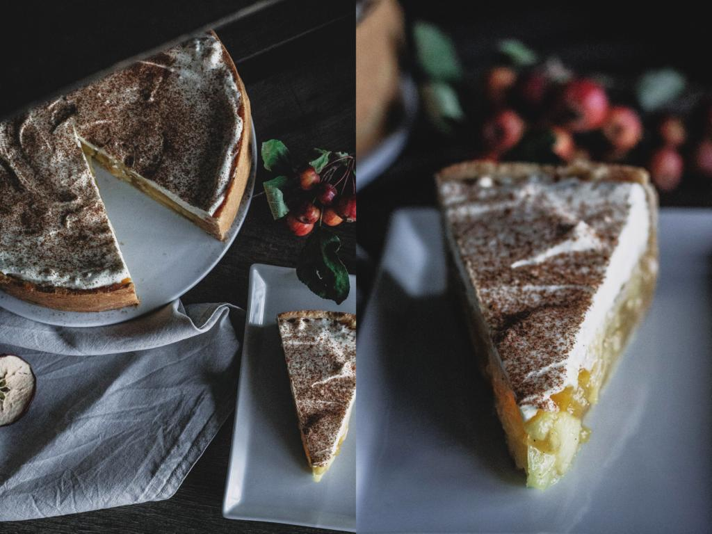 Angeschnittene Torte von oben und ein Stück Torte in Nahaufnahme