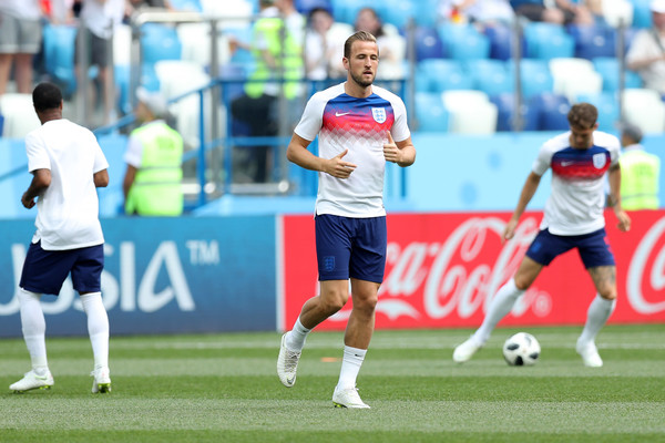 Harry Kane of England warms up prior to the 2018 FIFA World Cup Russia group G match between England and Panama at Nizhny Novgorod Stadium on June 24, 2018 in Nizhny Novgorod, Russia.