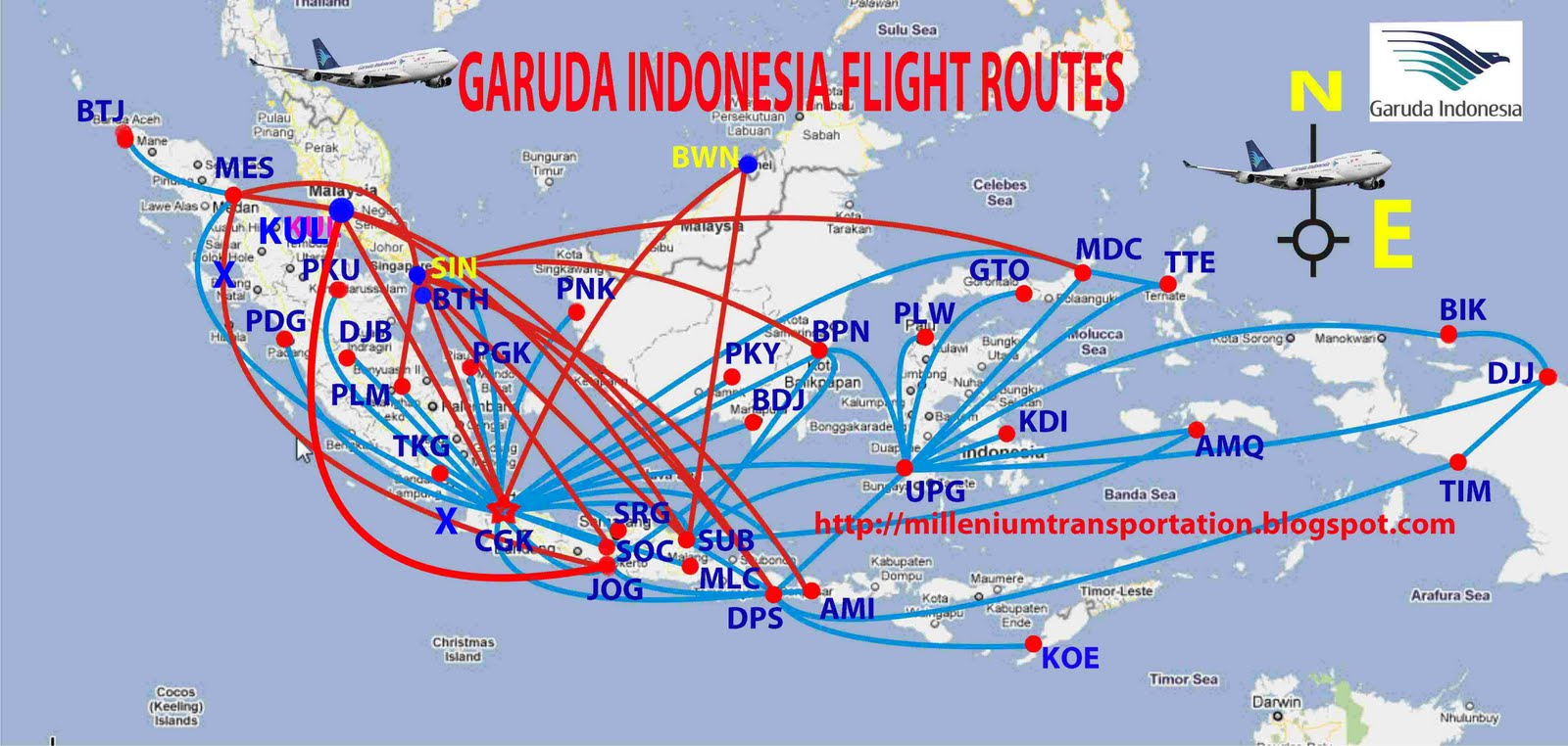 Garuda Indonesia Route Map Design Plane