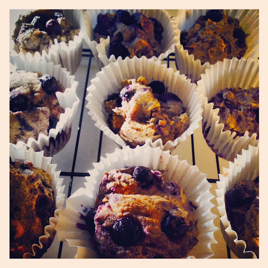 Lilly's Vegan Blueberry, Cornmeal and Millet Flour Muffins.