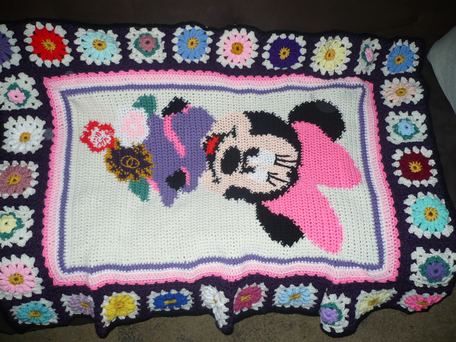 Stroller Cover Twin Stitches Crochet Minnie Mouse Blanket