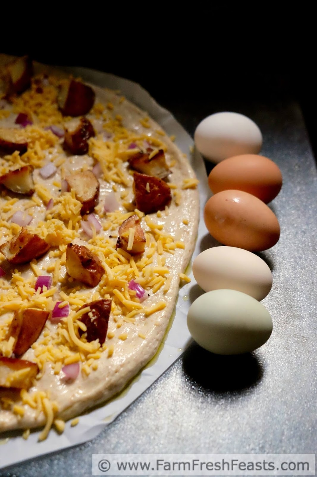 farm fresh feasts cheesy roasted potato and egg pizza