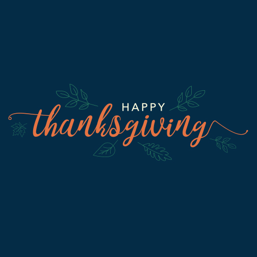 Navy poster with script text in orange: Happy Thanksgiving