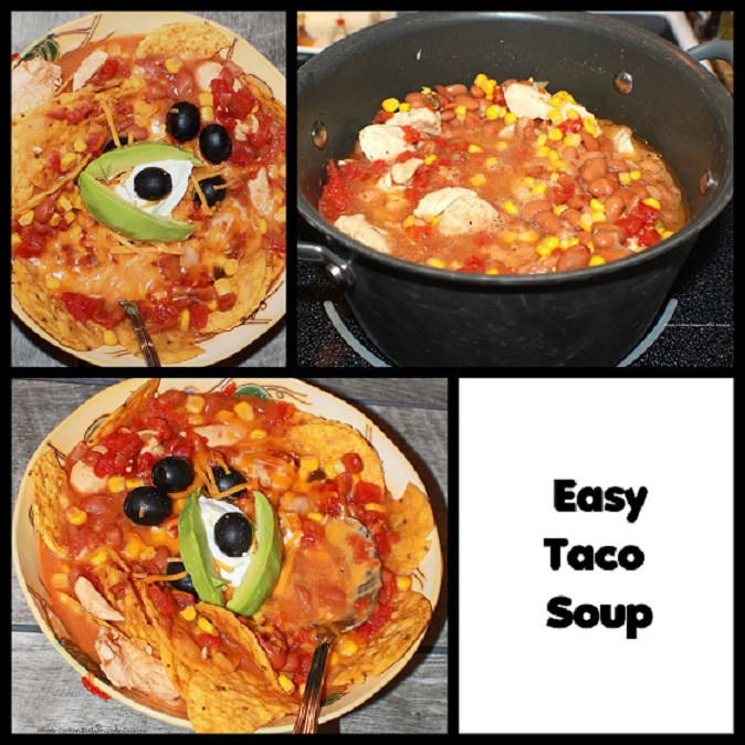 this is how to make a quick taco soup with chicken tortilla cheese and olives  This is bowl of taco soup with sour cream and cheese tortilla, olives, avocado in a thick bean sauce