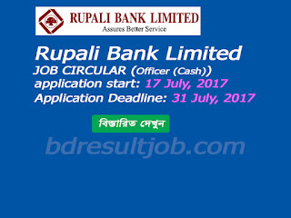 Officer (Cash) of Rupali Bank Limited Job Circular