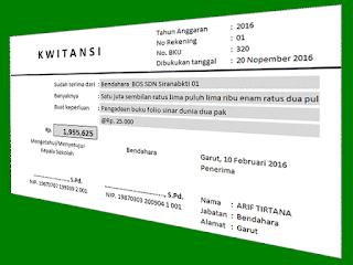 Contoh Aplikasi Cetak Kwitansi BOS Format Excel