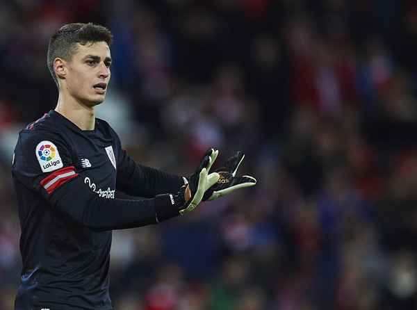 Chelsea bound Kepa Arrizabalaga of Athletic Club reacts during the La Liga match between Athletic Club and Real Madrid at Estadio de San Mames on December 2, 2017 in Bilbao, .