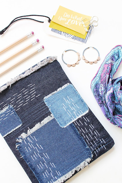Make a patchwork clutch with denim and fabric scraps