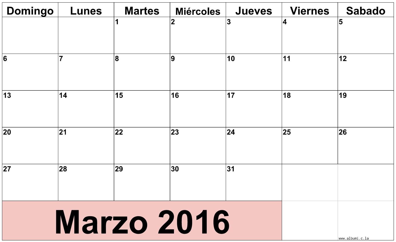 calendario mes de Marzo 2016 calendario mes a mes 2016 calendario mes