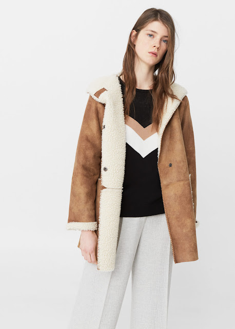 mango shearling coat, hooded shearling coat,