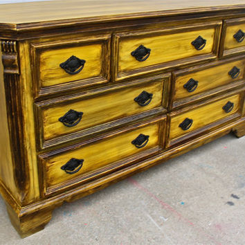 vintage yellow distressed bedroom furniture dresser