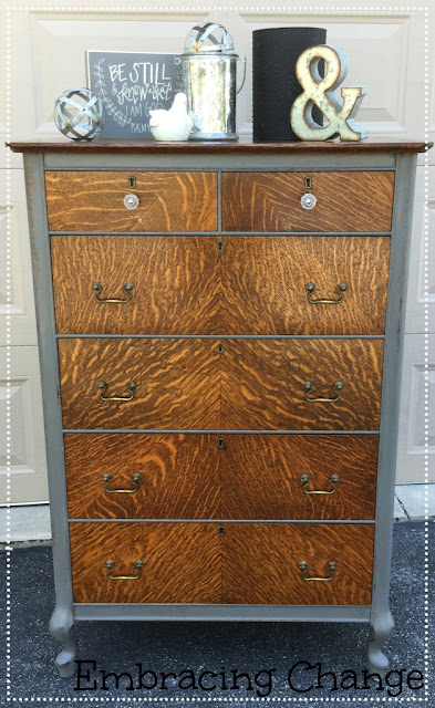 glass knobs and bail pulls - dresser makeover