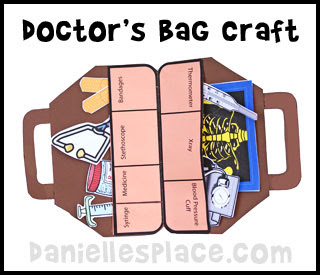 Dentists and doctors theme weekly home preschool what for Doctor bag craft template