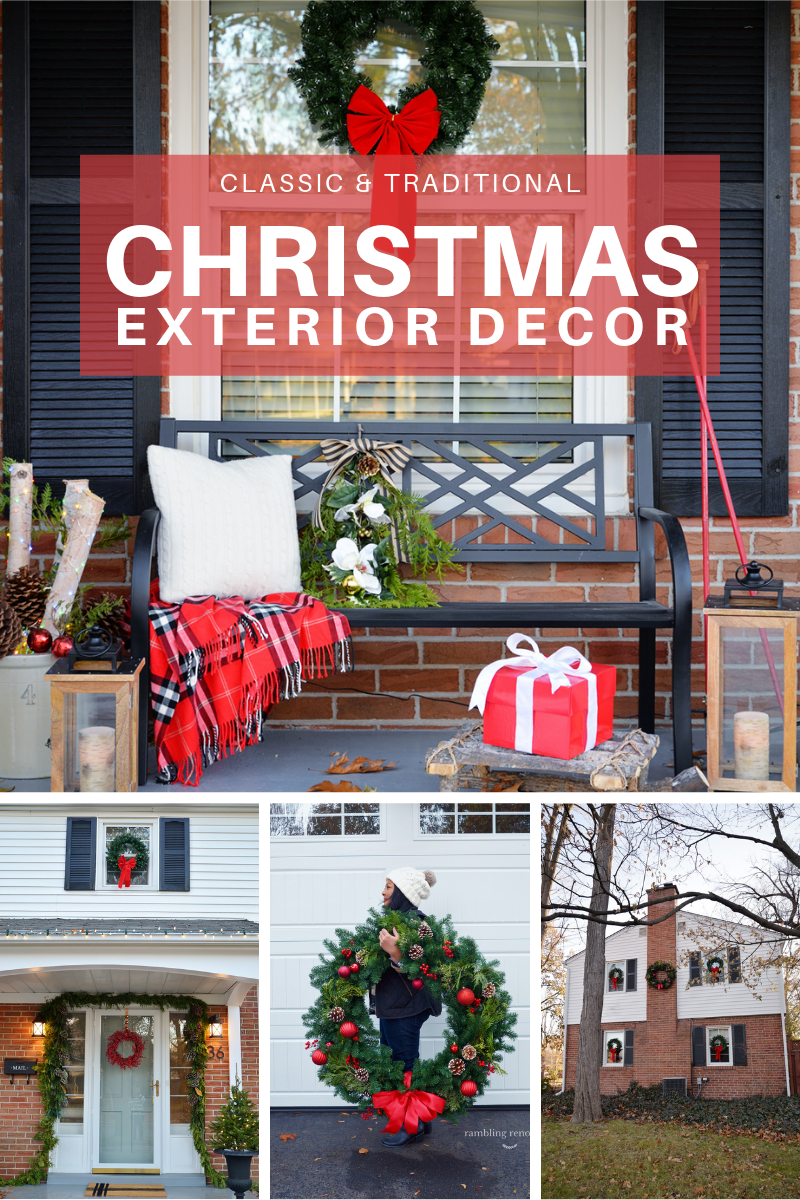 outdoor christmas decorations, classic christmas decor, christmas exterior, wreaths on windows