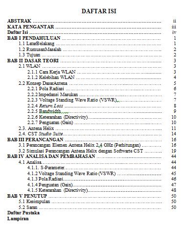 Daftar Isi Makalah