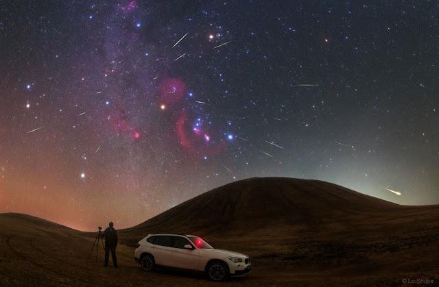 Mưa sao băng Orionid trên bầu trời Trung Quốc. Hình ảnh: Lu Shupei.
