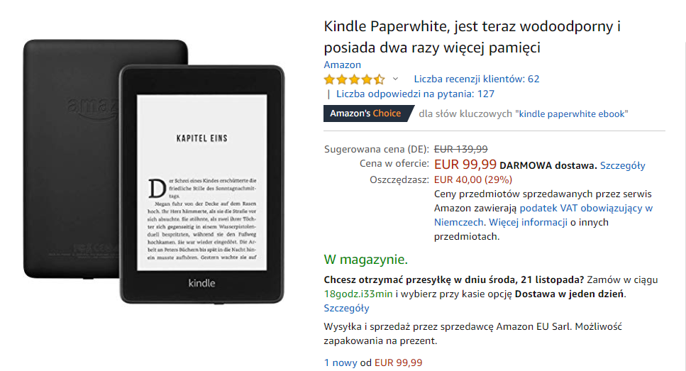 Kindle Papewhite 4 do kkupienia w promocji za 99,99 euro na Amazon.de