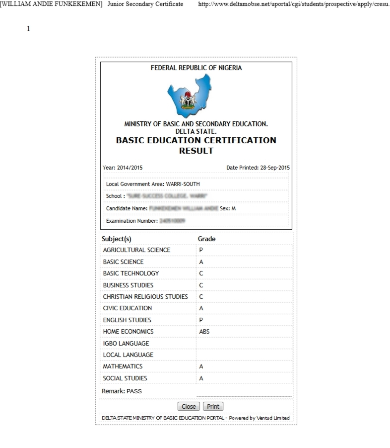 Bece Results checker