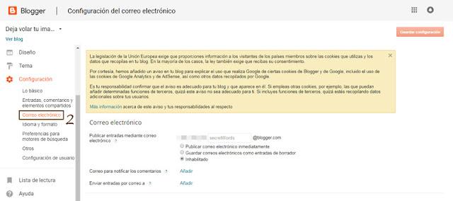 Paso 2 para volver a recibir los comentarios de tu blog por mail sin moderación