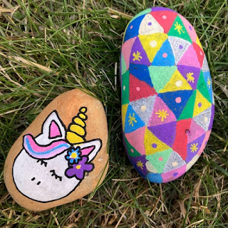 Unicorn and patterned painted rocks