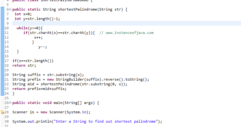 Java Program to find shortest palindrome in string