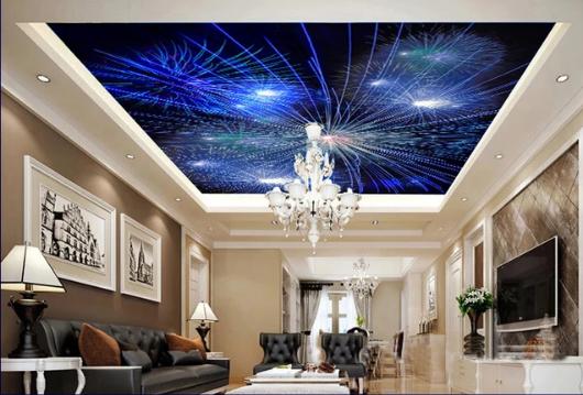 Trần 3d xuyên sáng sao băng cho phòng khách đẹp