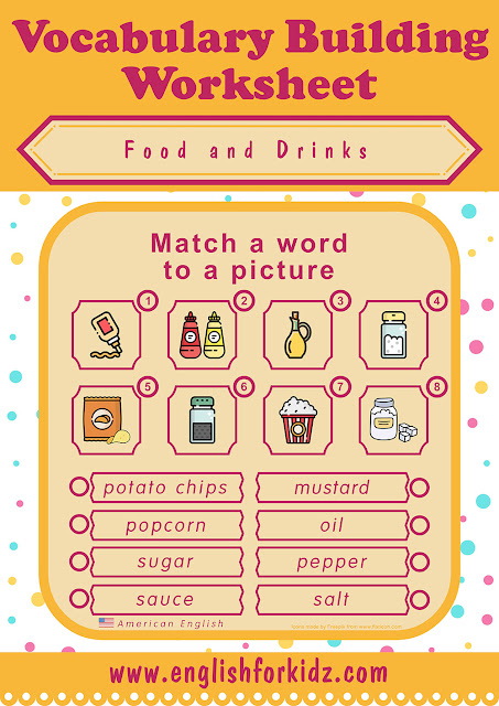 ESL food matching worksheet