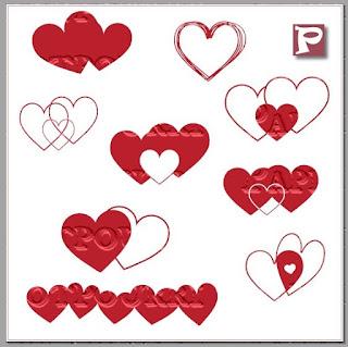 Grafik mit verschiedenen Herzmotiven