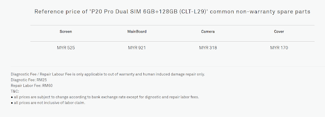 Senarai Harga Spare part Huawei P20 Pro Malaysia