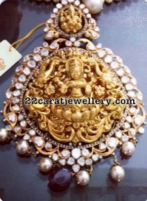 Two Step Lakshmi Pendant with Diamonds