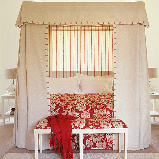 How To Use A Four Poster Bed Canopy To Good Effect: Blue Orange Red Yellow Green Purple Lavendar Bedroom Bed