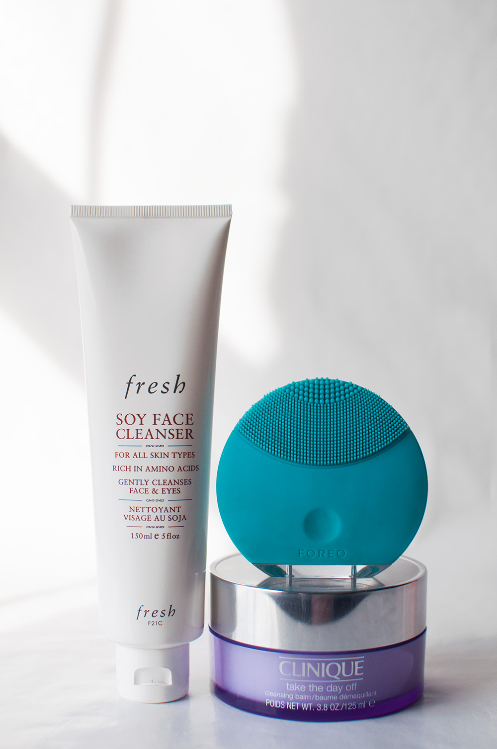 double cleanse, fresh soy face cleanser, foreo luna mini, clinique take the day off cleansing balm
