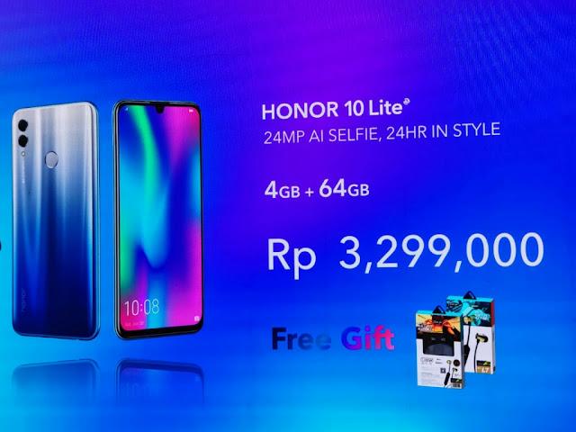 Pilihan Warna dan Harga Smartphone Honor 10 Lite