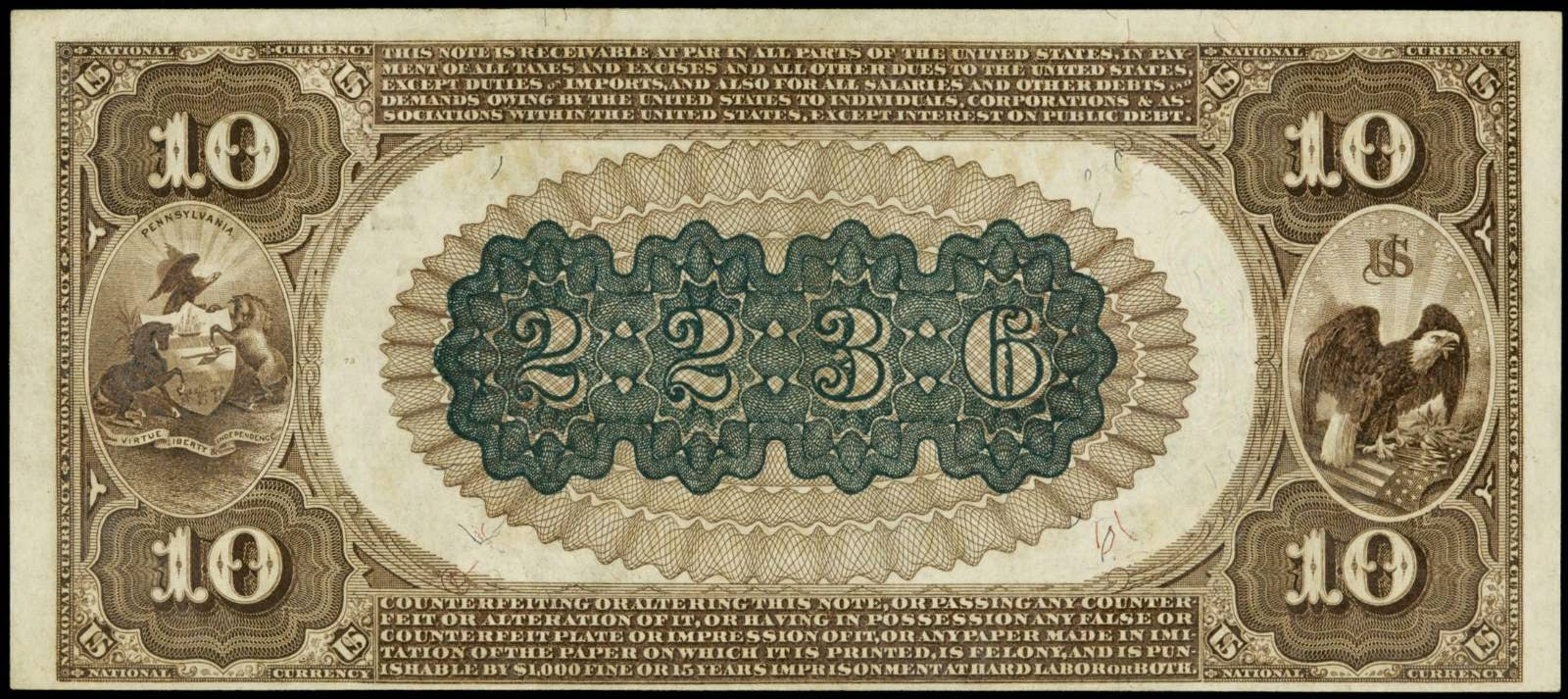 1882 Ten Dollar National Currency Brown Back