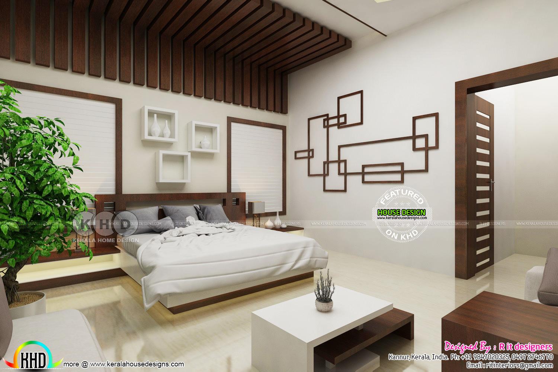 Modern master bedroom with false ceiling design - Kerala ...