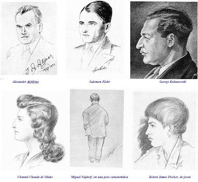 Dibujos de ajedrecistas pintados por Henry Grob