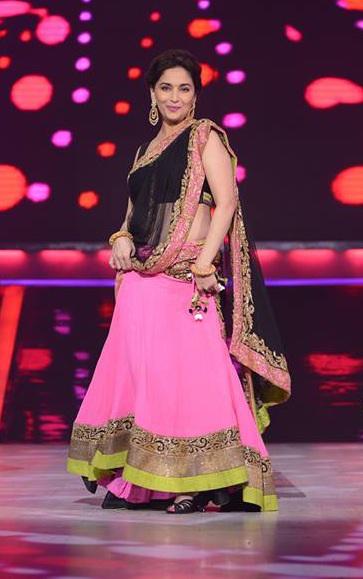 Madhuri Magenta & Black Lehenga Style Designer Saree