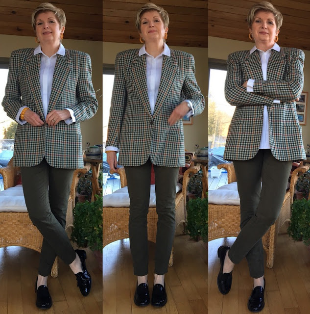 three shots of same woman in jeans, white shirt and checked jacket, and loafers