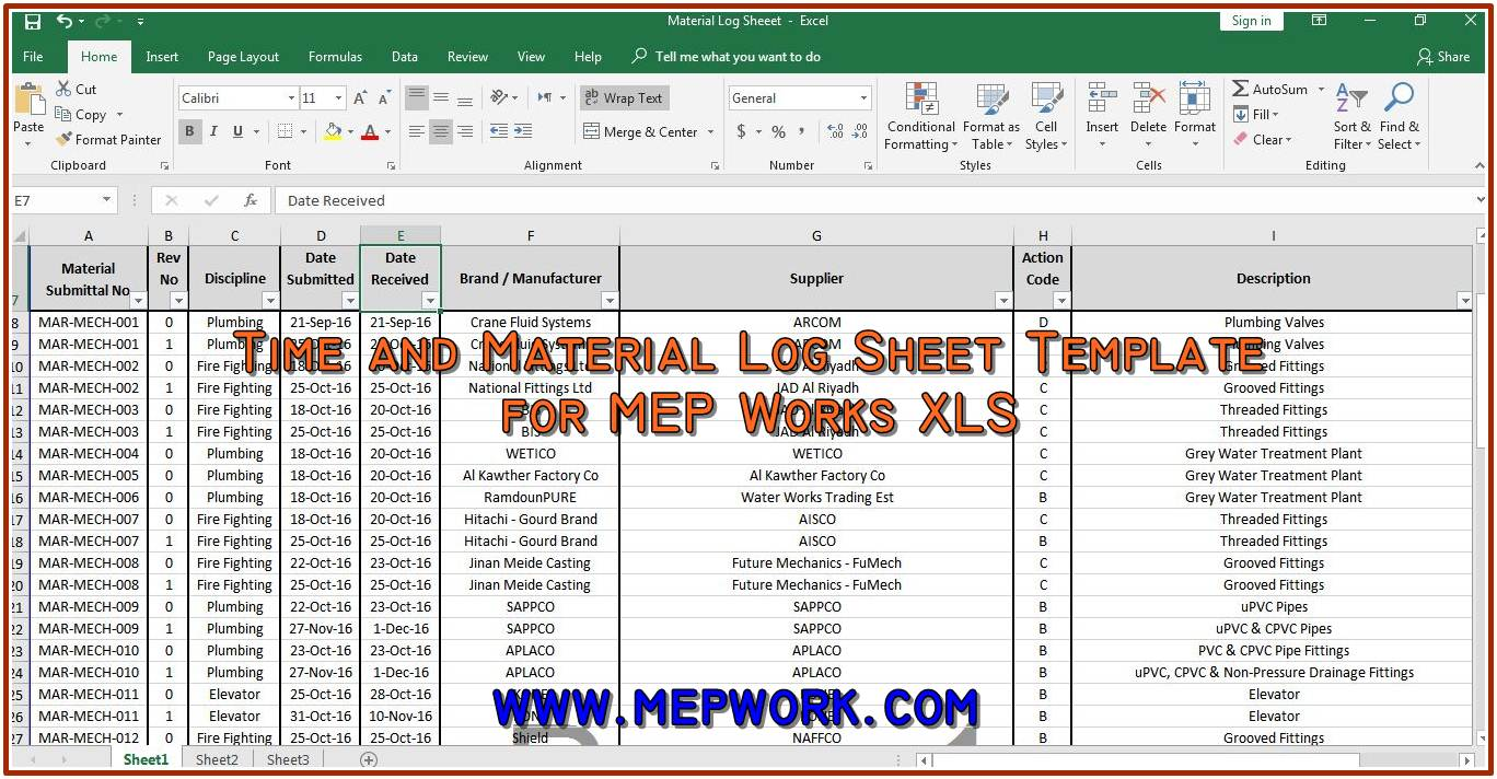 time and material log sheet template for mep works xls